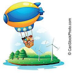ένα , αερόστατο , με , μικρόκοσμος , εφήμερος , πάνω , ένα ,...
