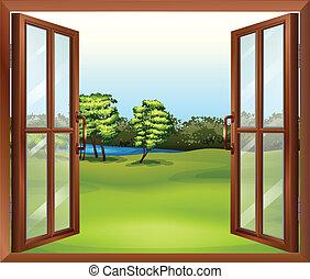 ένα , ανοίγω , ξύλινος , παράθυρο