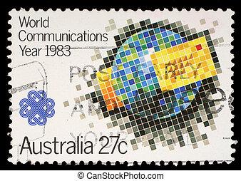 ένα , γραμματόσημο , αντίτυπο χαρακτικής τέχνης από , αυστραλία , αποδεικνύω , κόσμοs , διαβιβάσεις , έτος
