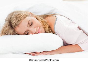 ένα , γυναίκα , ακινησία , αναμμένος κρεβάτι , με , αυτήν ,...