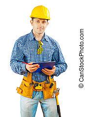 ένα , εργάτης , με , clipboard , απομονωμένος
