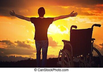 ένα , θαύμα , happened., ανάπηρος , ανάπηρα , άντραs , βρίσκομαι , υγιεινός , again., h