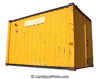 ένα , κίτρινο , πλοίο , έξοδα μεταφοράς εμπορευμάτων δοχείο , απομονωμένος , επάνω , ένα , άσπρο , φόντο.