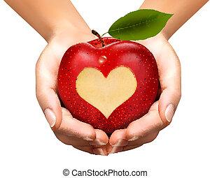 ένα , καρδιά , γλύφω , εντός , ένα , apple., vector.