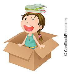ένα , κορίτσι , μέσα , ένα , κουτί