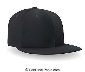 ένα , μαύρο , καπέλο του μπέηζμπολ