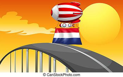 ένα , πλωτός , balloon, με , ο , σημαία , από , ολλανδία