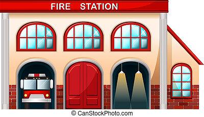 ένα , σταθμός πυροσβεστικής , κτίριο