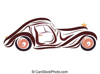 ένα , όμορφος , καφέ , αντίκα άμαξα αυτοκίνητο , με , ένα , πουλί