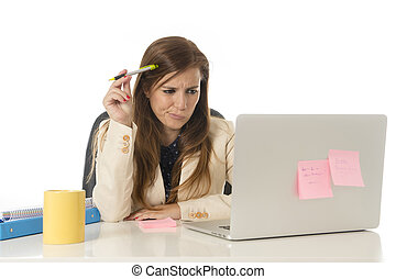 ένταση , γραφείο , κατέθλιψα , επιχειρηματίαs γυναίκα , στεναχωρήθηκα , ατενίζω , πόνος , ηλεκτρονικός υπολογιστής , γραφείο , κατέπνιψα