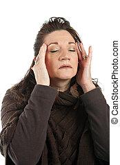 ένταση , γυναίκα , πονοκέφαλοs