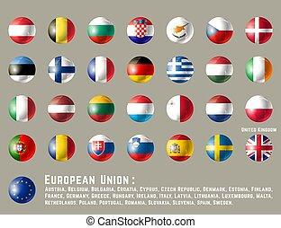 ένωση , σημαίες , στρογγυλός , ευρωπαϊκός