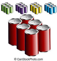 έξι , cans , πακετάρω