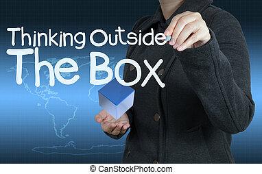 έξω , σκεπτόμενος , κουτί , γενική ιδέα , λέξη