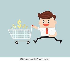 έτοιμος , επιχειρηματίας , ψώνια , αδειάζω , κάρο