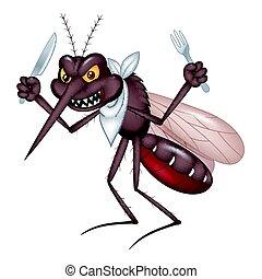 έτοιμος , κουνούπι , τρώγω , γελοιογραφία