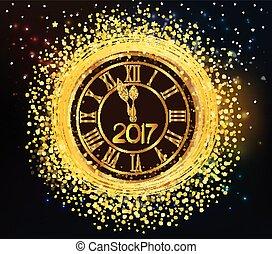 έτος , καινούργιος , 2016, λαμπερός , ρολόι