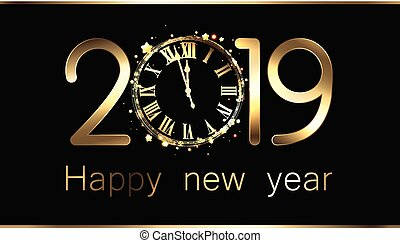 έτος , καινούργιος , clock., 2019, μαύρο φόντο