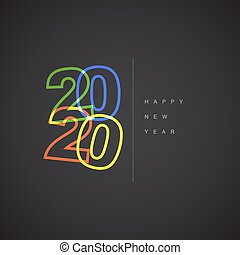 έτος , μικροβιοφορέας , μοντέρνος , καινούργιος , 2020, ευτυχισμένος , κάρτα , minimalistic