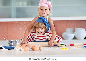 έχει , παιδιά , αστείο , κουζίνα