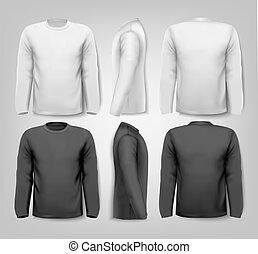 έχων μανίκια , εδάφιο , μακριά , δείγμα , space., vector., πουκάμισο