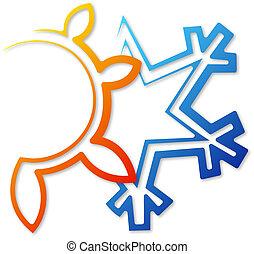 ήλιοs , αφαίρεση , νιφάδα χιονιού , ρυθμιστής