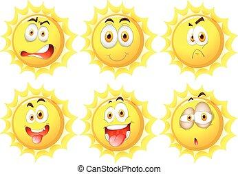 ήλιοs , διαφορετικός , εκφράσεις , του προσώπου