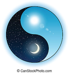 ήλιοs , και , φεγγάρι , μέσα , yin yang σύμβολο