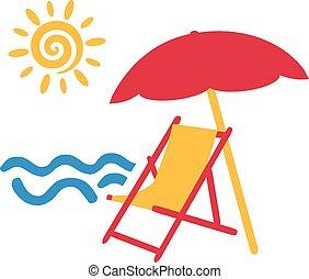 ήλιοs , καρέκλα , ομπρέλα ηλίου , παραλία , θάλασσα