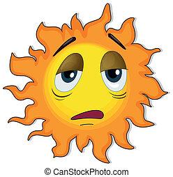 ήλιοs , κουρασμένος