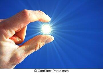 ήλιοs , ουρανόs , δάκτυλα , χέρι