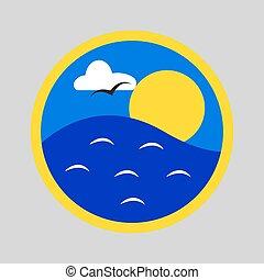 ήλιοs , πάνω , θάλασσα
