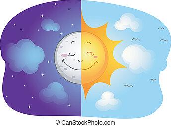 ήλιοs , φεγγάρι