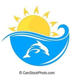 ήλιοs , dolphin., θάλασσα