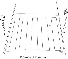 ή , διάβαση , διάβαση πεζών , αναμονή , άντραs , πεζός , αγίνωτος αβαρής , γελοιογραφία , stoplights
