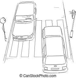 ή , διάβαση , διάβαση πεζών , εφήμερος , αναμονή , άντραs , πεζός , αγίνωτος αβαρής , γελοιογραφία , stoplights , άμαξα αυτοκίνητο