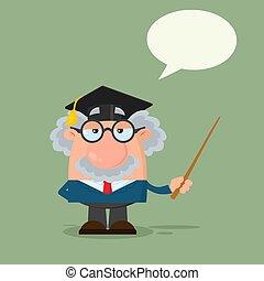 ή , καθηγητής , σκούφοs , χαρακτήρας , απόφοιτοs , επιστήμονας , κράτημα , δείκτης , γελοιογραφία
