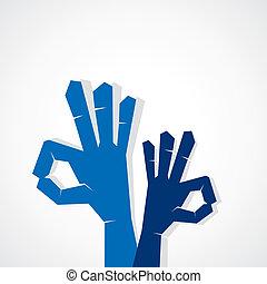 ή , σήμα , δείχνω , εντάξει , εκπληκτική επιτυχία , χέρι