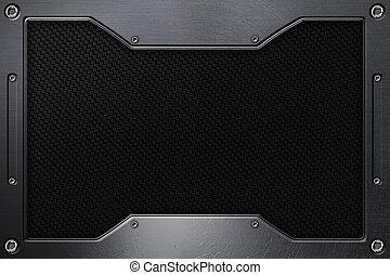ίνα , frame., μέταλλο , μαύρο φόντο , άνθρακας