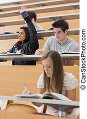 αίθουσα , χέρι , διάλεξη , σπουδαστής , πάνω , κάθονται