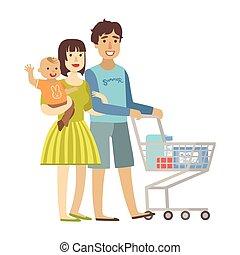 αίσιος ειδών ή πραγμάτων , σειρά , νέος , εικόνα , υιόs , γονείς , μωρό , ψώνια , υπεραγορά , τρυφερός