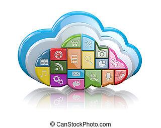 αίτηση , σύνεφο , computing., icons., 3d