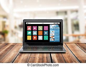 αίτηση , laptop ηλεκτρονικός εγκέφαλος , οθόνη , απεικόνιση