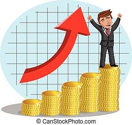 αγάλλομαι , χρήματα , ευτυχισμένος , γελοιογραφία , επιχειρηματίας