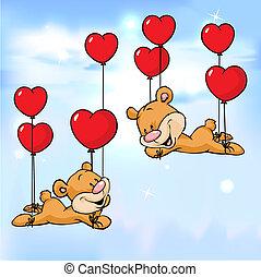 αγάπη αναπτύσσομαι , ιπτάμενος , μπαλόνι , αρκούδα