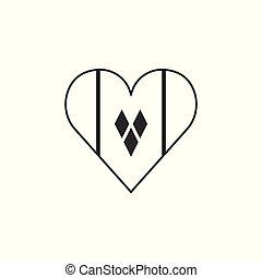 αγάπη γενικές γραμμές , διαμέρισμα , σημαία , σχήμα , μαύρο , άγιος , σχεδιάζω , γρεναδίνη , βικέντιος , εικόνα