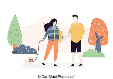 αγάπη , δίπλα. , ζευγάρι , ώρα , βαδίζω , park., σκύλοs , ξοδεύω , άνθρωποι
