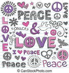 αγάπη , & , ειρήνη , sketchy, μικροβιοφορέας , doodles
