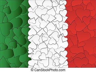 αγάπη , ιταλία , χέρι , σημαία , λώτ , αγάπη , μετοχή του draw , doodles