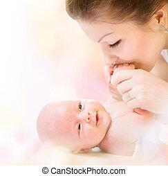 αγαπώ , νεογέννητος , μητέρα , μωρό , ασπασμός , ευτυχισμένος , baby.